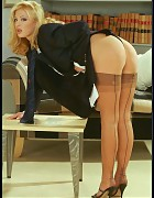 Sassy Business Boss In Power Suit And Tan Silk Stockings Picture 11