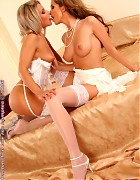 Two hot lesbians in white stockings Picture 6