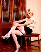 Hot Halley in stilettos and white stockings Picture 5