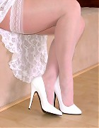 Stockings babe Jackie only in white nylons and lingerie Picture 14