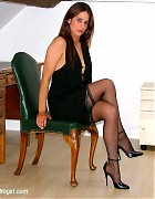 Becky Bailey show her hot heels and black stockings Picture 8