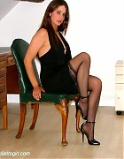Becky Bailey show her hot heels and black stockings Picture 9