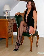 Becky Bailey show her hot heels and black stockings Picture 10