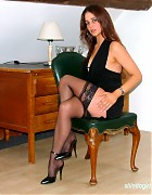 Becky Bailey show her hot heels and black stockings Picture 11
