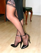 Becky Bailey show her hot heels and black stockings Picture 12