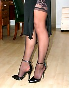 Becky Bailey show her hot heels and black stockings Picture 14