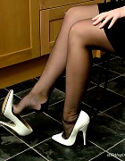 Sexy Sara wearing white high heels and nylon stockings Picture 6