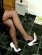 Sexy Sara wearing white high heels and nylon stockings Picture 10