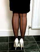 Sexy Sara wearing white high heels and nylon stockings Picture 12