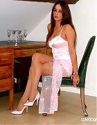 Becky in pink evening dress and pink pumps Picture 4