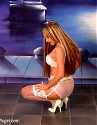 Wendi in white stockings and heels show her blond long hair Picture 3