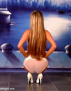 Wendi in white stockings and heels show her blond long hair Picture 6