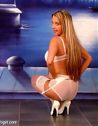 Wendi in white stockings and heels show her blond long hair Picture 7