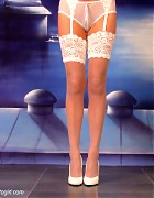Wendi in white stockings and heels show her blond long hair Picture 10