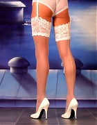 Wendi in white stockings and heels show her blond long hair Picture 11