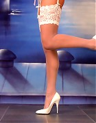Wendi in white stockings and heels show her blond long hair Picture 13