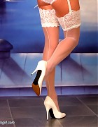 Wendi in white stockings and heels show her blond long hair Picture 15